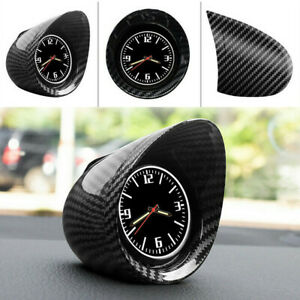 Carbon Fiber Look Car SUV Dashboard Stick-On Pointer Time Clock Round Guage