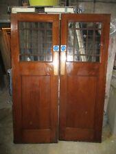 """Pair OAK Arts & craft style French part Glazed external doors 56 1/2""""x80 1/2""""x2"""""""