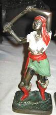 Antique Lady Sword Gun Knife Sea Pirate Maritime Art Statue Treasure Bookends