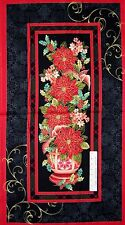 "23"" Fabric PANEL - Henry Glass Christmas Splendor Poinsettia Wallhanging Red Blk"
