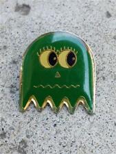 Vintage 1980's Pac-Man Green Ghost Goldtone & Enamel Clutch Back Lapel Pin