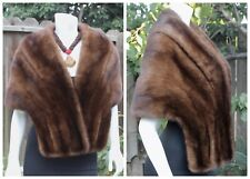 LUXURY WILD SIBERIAN NATURAL BROWN MINK Fur Stole Wrap Shawl Shrug Bridal Party