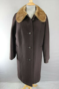 VINTAGE 80's BRITISH MADE DARK BROWN EASTEX PURE WOOL MINK COLLARED COAT 38 INCH