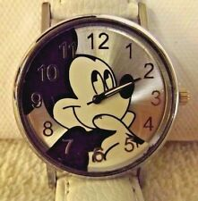 Mickey Mouse Watch Quartz Black & White Face Band is White Works