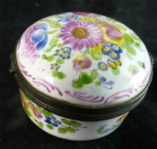 ANTIQUE FRENCH FAIENCE ENAMEL SNUFF BOX MARSEILLE FLOWERS