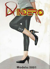 Indero Shinny Black Faux Leather Ankle Jeweled Leggings - 5001 - Size S - M