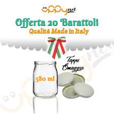 OFFERTA 20 Barattoli in vetro per marmellate conserve omogeneizzati 580 ml tappi
