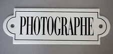 "VINTAGE FRENCH PLAQUE ENAMEL STEEL METAL SIGN PHOTOGRAPHE 6"" X 2"""