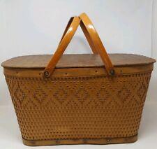 Vintage Wicker Picnic Basket Red-Man Wood Lid Metal Handles Hinged Large 1Bb