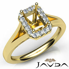 Emerald Diamond Semi Mount Engagement 14k Yellow Gold Pave Setting Ring 0.2Ct