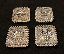 Vintage Hobnail Clear Glass Square Candy Nuts Jewelry Dish Antique Set of 4