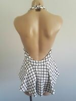EUC size S small or fit 10 CAMEO halter  low backless top. Ivory and black grid