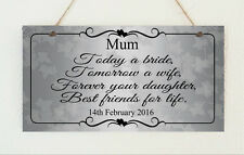 Personalised Chic Plaque Mother Of The Bride / Groom Gift Wedding Shabby Present
