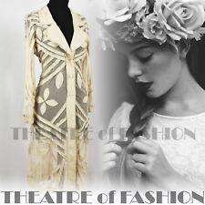 VINTAGE COAT JACKET DRESS LACE WEDDING BOHO 70s HIPPY GODDESS 12 14 16 EDWARDIAN
