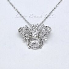 HONEY BEE NECKLACE - Bumblebee Charm Pendant Jewelry White CZ's Free Shipping