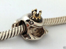 Authentic Chamilia Prince Frog Sterling Silver 14K Gold Bead Charm, KB60, New