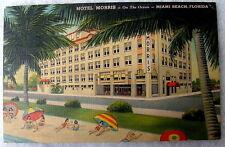 LINEN POSTCARD THE HOTEL MORRIS ON THE BEACH MIAMI BEACH FLORIDA #pq67k