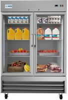Stainless Steel  2 Glass Door Commercial Reach In Refrigerator Cooler 47 cu. ft.