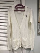 NWT ABERCROMBIE KIDS GIRLS XL CARDIGAN SWEATER OFF WHITE POCKETS BLUE MOOSE