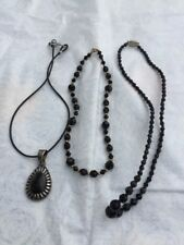 Vintage Black Fashion Costume Jewelry Necklace Lot of 3