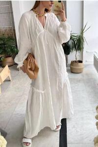 H&M SS20 TREND 100% Cotton Kaftan Dress White Long BLOGGERS SOLD OUT FITS SZ M