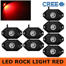 8PCS 3-CREE 9W Red LED Rock Light JEEP Off-Road Truck Rig Trail Light Boat SUV