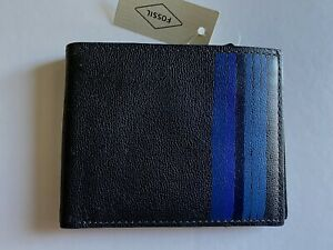 Men's. Fossil Flynn Bifold Leather Wallet NWT.  Navy