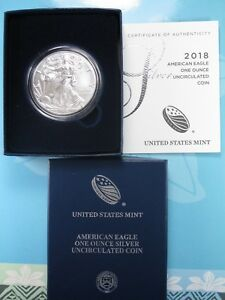 2018-W AMERICAN SILVER EAGLE ONE OUNCE UNCIRCULATED ORIGINAL MINT PACKAGING 18EG