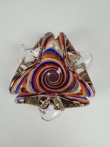 VTG Art Glass Ashtray/Bowl Copper, White, Orange & Blue Swirled Tri Lobed