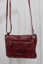 Koltov Red Faux Reptile Cross body Organizer Shoulder Purse.