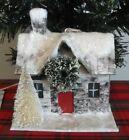 Ragon House Putz Style House Christmas ornament, bottlebrush trees, wreath NWT