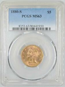 1880-S $5 Liberty Half Eagle Gold Coin PCGS MS63