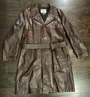 Vintage Field & Stream Leather Trench Coat Gordon & Ferguson Co Mens Size 42 EUC