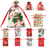 10*Transparent Organza Gift Package Bags Christmas Candy Cookies Xmas Pouches