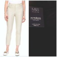 Ladies Linen Trousers Ankle Grazer Cotton Cropped Tapered Slim Fit Crop Store
