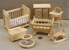 1:12th Scale 7 Piece Pine Wooden Nursery Set Dolls House Miniature Bedroom 1169