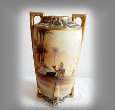 Nippon large vase with desert oasis camel scene - gold beading