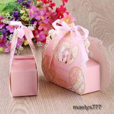 Contenant à dragées boîte mariage baptême carrosse  rose et doré +ruban 10pcs