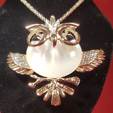 Fashion White Owl Crystal Chain Pendant Jewellery