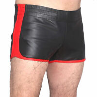 Full Grain Cowhide Real Leather Sports Shorts Chaps for Men Heavy Duty