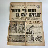 Vintage Movie Pressbook 1929 Around The World Via Graf Zeppelin Epic Talking Pic