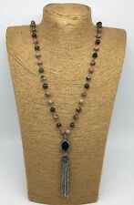 Fashion Bohemian Link Stone Beads charming crystal Tassel necklace jewelry
