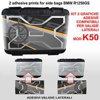 2 adesivi valigie LATERALI BMW R1250GS exclusive rosa dei venti K50 dal 2013