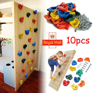 10X Rock Climbing Holds Wall Stones In/Outdoor Kids Playground With Fixing Set