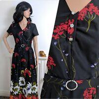 Vintage 70s Flower Power Diamante Floral Meadow Maxi Dress Evening Boho 10 38