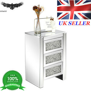 FCH Silver MDF Mirror Surface Broken Glass 40*30*60cm Three Drawer Bedside Table