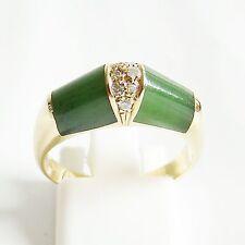 Ring Gold 750er Jade Diamanten Goldschmuck 18 kt. Edelsteine Brillanten