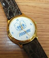 Genuine Allstate Gold Tone Twin Brown Band Insurance Advertisement Watch *READ*