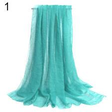 2pcs Women Ladies Long Chiffon scarf cover wrap 162cm x 70cm Nylon Pale Green