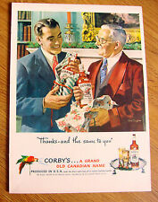 1948 Corby's Whiskey Ad  Christmas Theme